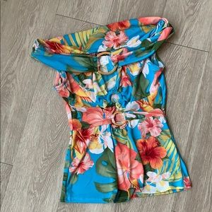 Venus Off the shoulder Ring detail top colourful